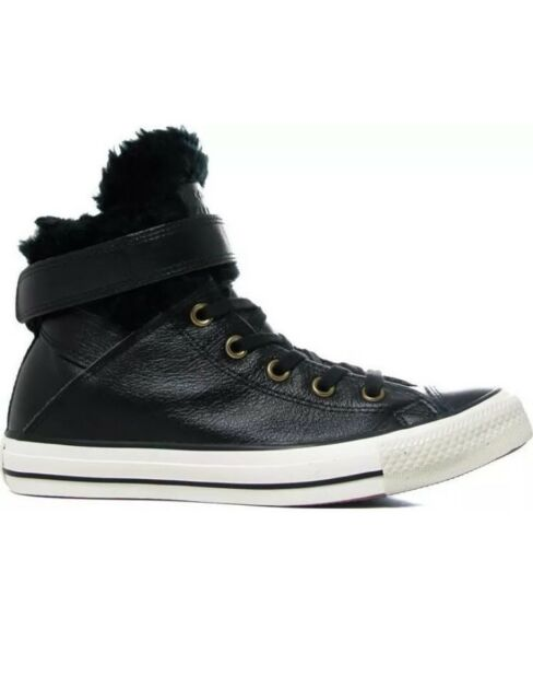 5695a42747bd23 Converse Chuck Taylor All Star Brea Leather Fur High Top Black 553394C  Women s