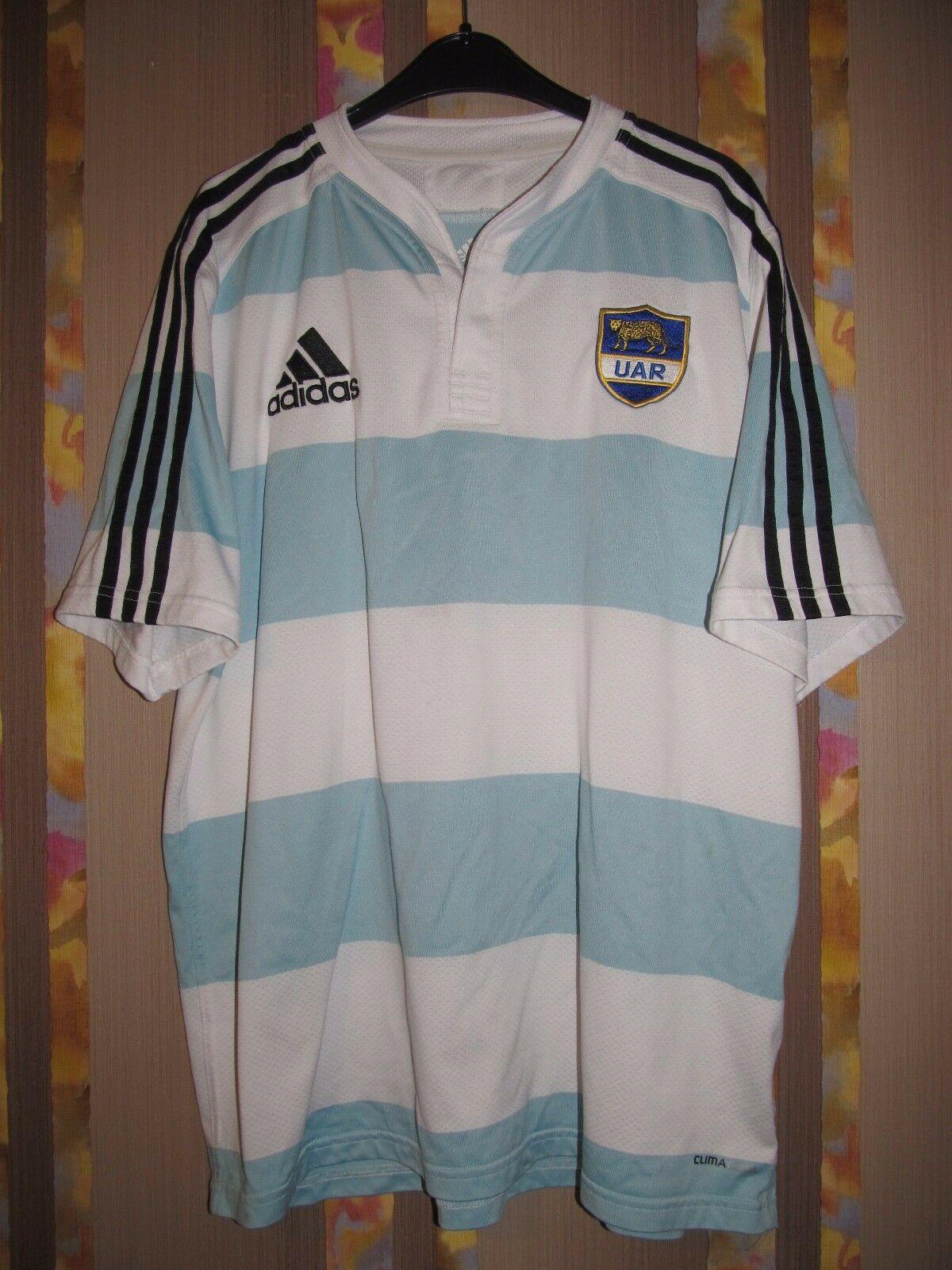 UAR silverINA 2010 2011 HOME RUGBY SHIRT ADIDAS JERSEY LOS PUMAS PLAYER ISSUED L