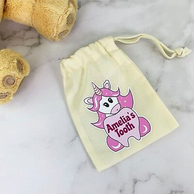 Personalised Children/'s Unicorn Drawstring Tooth Fairy Bag Any Name Custom Gift