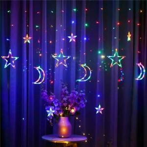 LED-Moon-Star-Curtain-Lights-Fairy-String-Wall-Lights-Wedding-Party-Xmas-Gift-UK