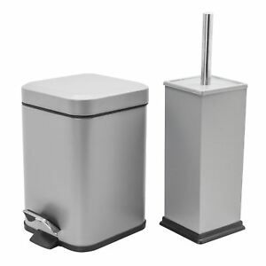 Cubo-De-Residuos-Basura-Pedal-Bano-3L-y-bano-titular-de-cepillo-Set-Acero-Gris