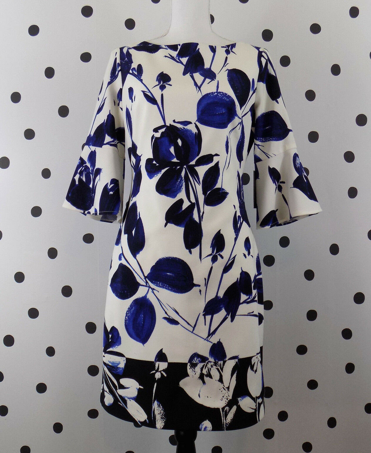 Vince Camuto Womens Scuba Sheath Dress Size 6 Floral White bluee Bell Sleeve New