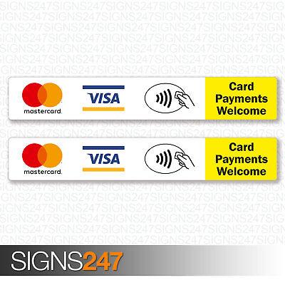 2x pagamenti con carta di benvenuto Adesivi Mastercard Visa//CartaSì senza contatto TAXI negozio Segno