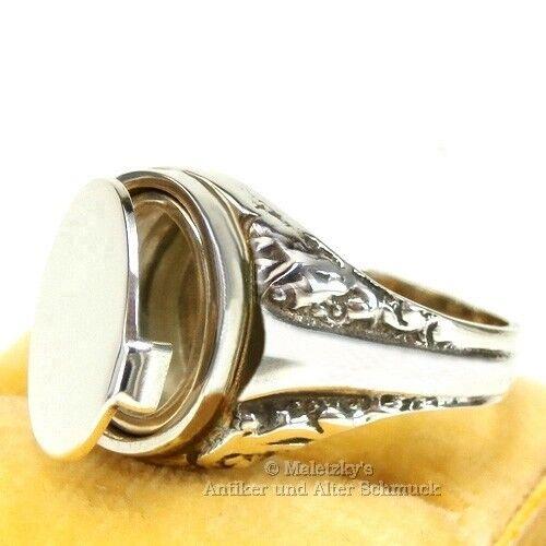 Antico ANELLO da da da UOMO con scomparto segreto-ART vetrini sigillo & medaglione Anello argentoo 835 79c104