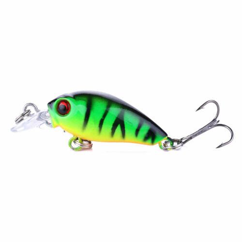 6PCS Lot Crankbaits 4.5cm//4g Minnow Fishing Lures Hook Tackle Hard Bait Wobbler