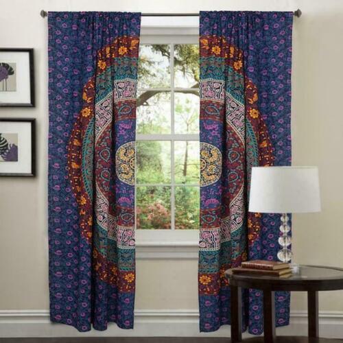 Indian Purple Mandala Cotton Hippie Tapestry Door Cutain Decor Window Curtains