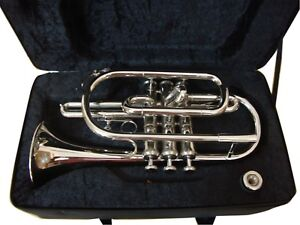 STUDENT-Bb-CORNET-CHROME-FINISH-FREE-HARD-CASE-MOUTHIPIECE-FAST-SHIPPING