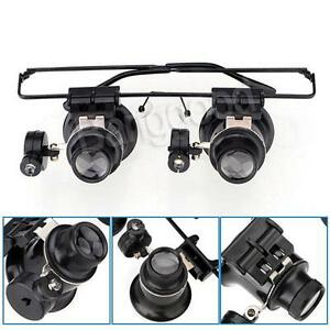 Loupe-Horloger-montre-de-reparation-20x-binoculaire-lunette-monture-LED-lampe