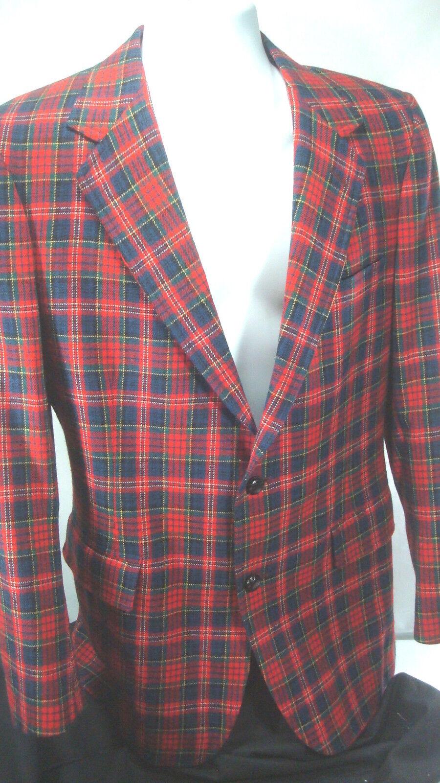 Pendleton 100% Virgin Wool ROT Plaid Sports Coat Blazer 2 Button Made In USA 37