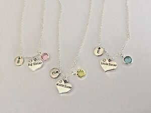 Personalised-Big-Middle-Little-Sister-Necklace-Pendant-Birth-Stone-Gift