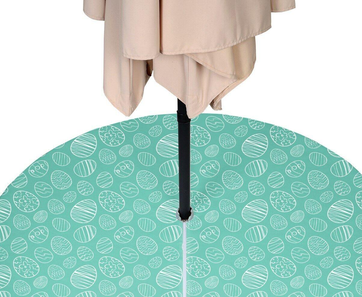 Hand Drawn Easter Eggs Teal WaterRepellent Tablecloths w  Zipper & Umbrella Hole