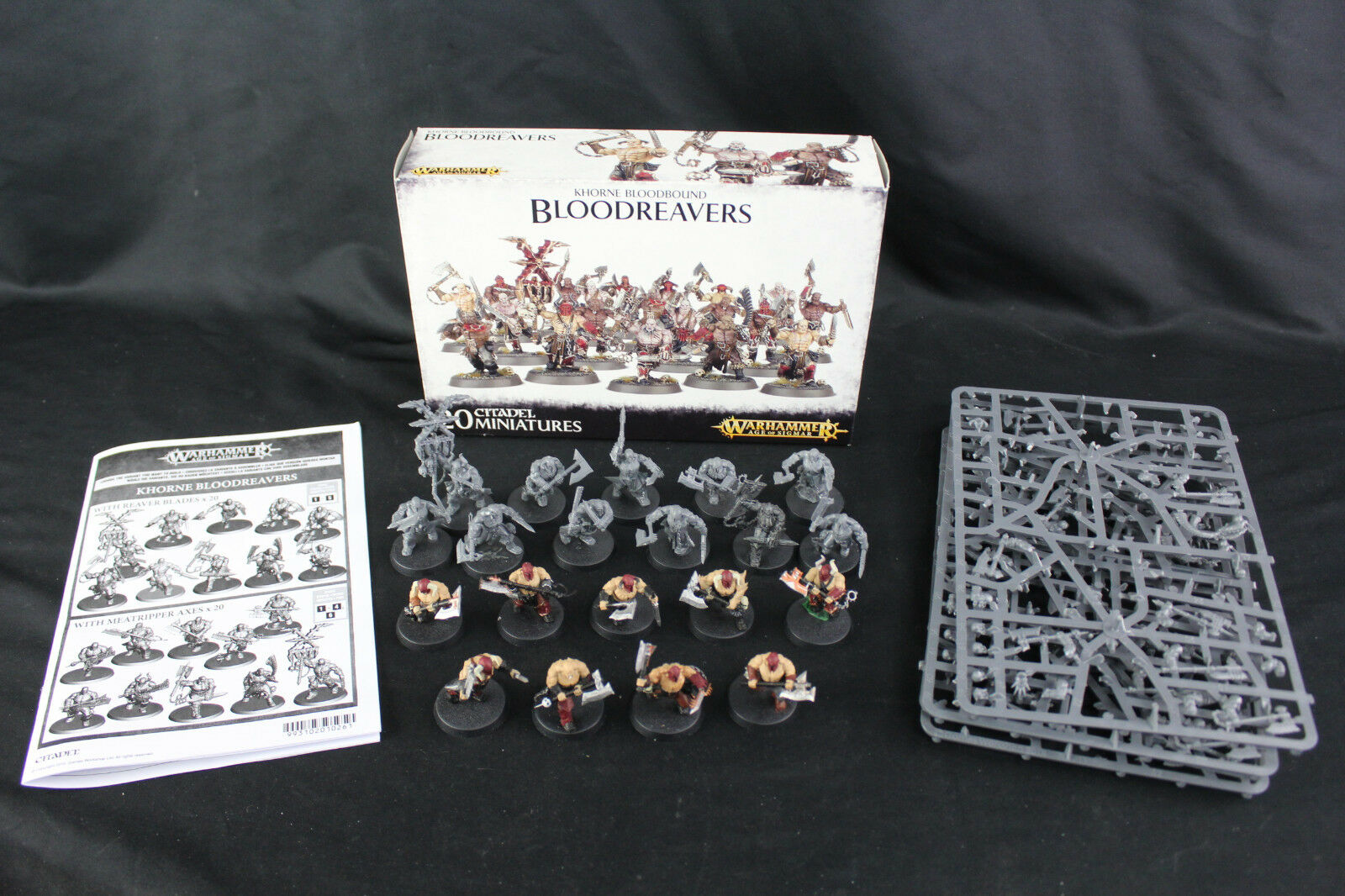 20 Warhammer Age of Sigmar Khorne Bloodbound Bloodreavers 9 Painted w Box & Acc.