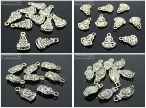 Tibetan Silver Carved Buddha Head Spacer Pendant Charm Beads Metal Findings