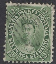 CANADA : 1859 12 1/2c deep yellow-green   SG 39 used
