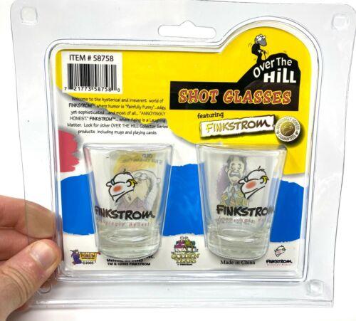"""2pk Funny Shot Glass Gift Set /""""Over The Hill/""""  Novelty GaG Prank Joke Retirement"""
