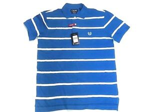 NWT-CHAPS-Men-039-s-STRETCH-YOUR-LIMITS-Striped-Polo-Shirt-HYDRO-BLUE-SMALL