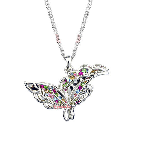 Collana da women Cristallo Swarovski Elements Farfalla Multicolor W06