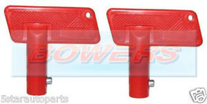 PAIR-OF-RED-BATTERY-CUT-OFF-KILL-ISOLATOR-SWITCH-SPARE-KEYS-CAR-BOAT-RALLY