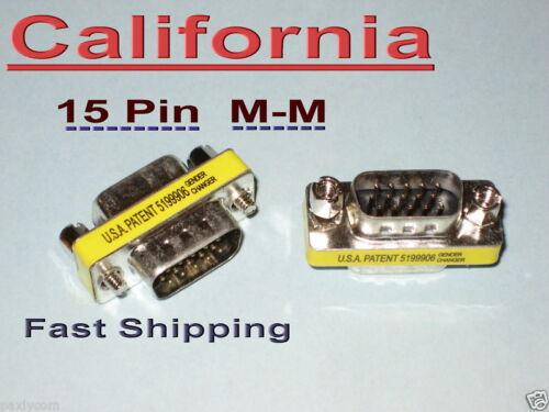 SVGA VGA 15-Pin Male to Male Converter Changer Adapter 15 pin