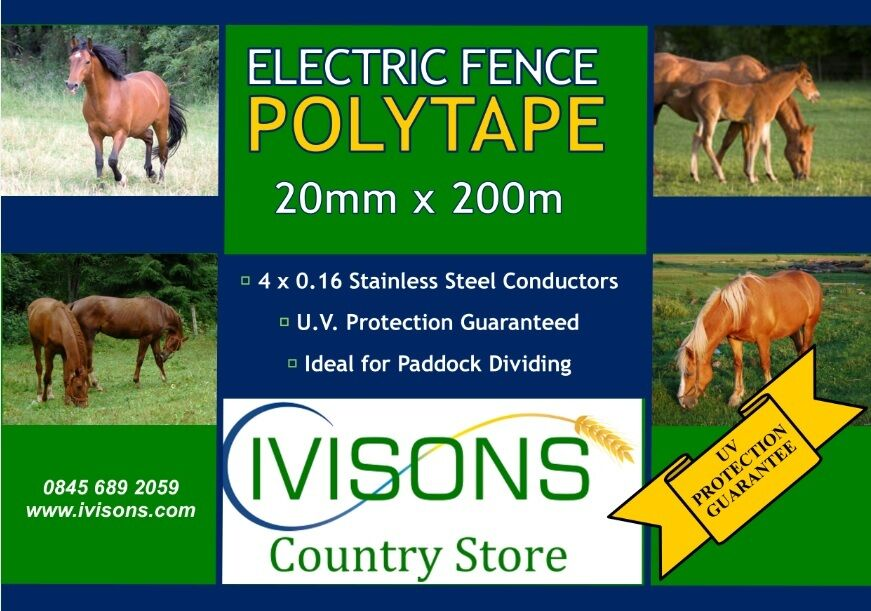 6 X IVISONS ELECTRIC FENCE POLY TAPE 200M X 20MM QUALITY UV PredECTED