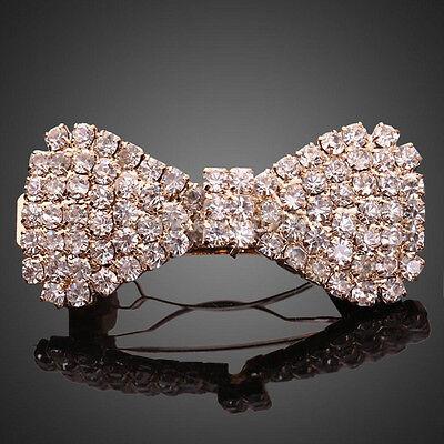 Fashion Women Girls Crystal Rhinestone Bowknot Barrette Hair Clip Clamp Hairpin