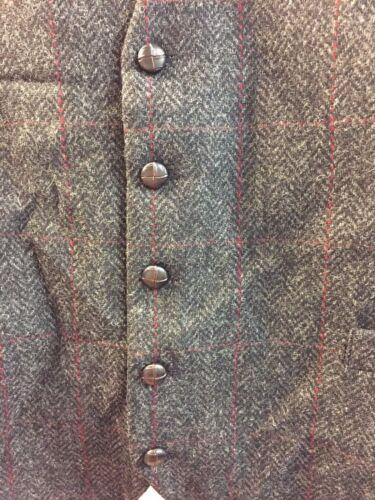 Mucros Weavers Full Back Waistcoat Dark Grey Herringbone Check TD079 OO