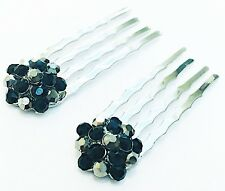 USA Mini Hair Comb Small using Swarovski Crystal Bridal BLACK GRAY Silver NEW