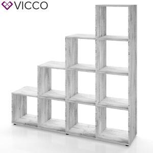 VICCO-Treppenregal-10-Faecher-Grau-Beton-Raumteiler-Stufenregal-Buecherregal