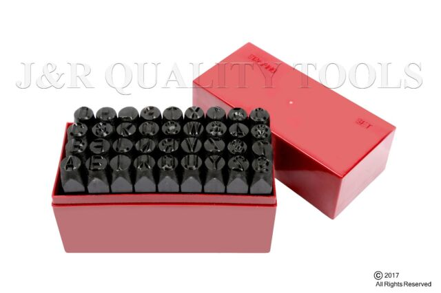 """10MM 3//8/"""" Letter-number Punch Stamp Set Metal 36 PIECE in plastic case NEW"""