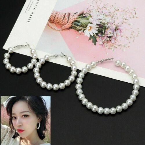 Chic Women Jewelry Hoop Earring White Pearl Earrings Big Circle Loop Best Gift