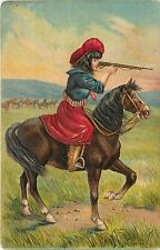 1907-15 Printed Embossed Unposted Postcard Cowgirl on Horse Shoots Gun Rifle