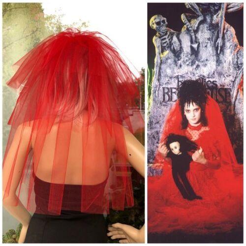 Halloween party Veil 3-tier red Halloween Lydia Deetz veil costume idea.