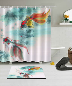 Image Is Loading Ink Printing Koi Fish Shower Curtain Bathroom Polyester