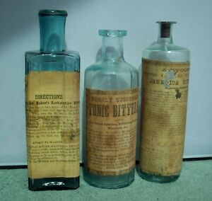 Lot of Three (3) Early Bitters Bottles, Label, Pontil, Atwood's, Dr. Baker's