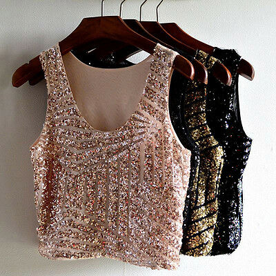 Sexy Women Vest Crop Top Blouse Tee Sequin Sleeveless Party Tops Clubwear