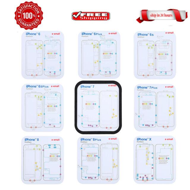 9 in 1 Set Magnetic Screw Chart Mat Repair Guide Pad for iPhone 6 6S 7 8 Plus X