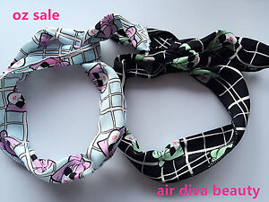 LADY-Girl-Retro-70-039-80-039-Check-Bunny-Ear-adjustable-bow-Scarf-Hair-head-band-Wrap
