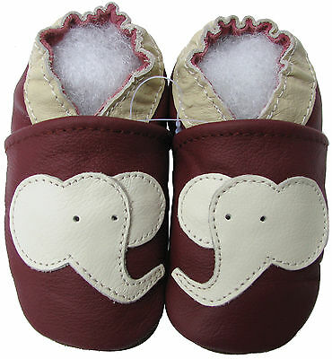 carozoo cow dark red 4-5y soft sole leather kids shoes