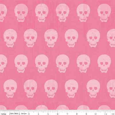 Fat Quarter Geekly Chic Pink Skulls Cotton Quilting Fabric  Riley Blake