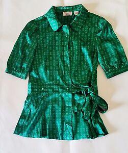 1021167507fcfd Penguin by Munsingwear Women s Blouse Sz M Green Silk Blend Bow Tie ...