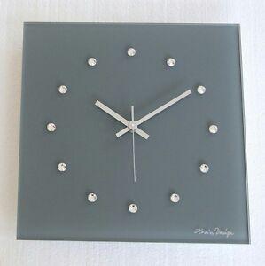 Details zu Kristall Glas Swarovski Elements Design Funk Wanduhr grau silber  Wohnzimmer Uhr