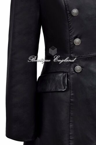 Ladies Style Black Leather Gothic Edwardian 3491 Coat Real BArZ4BqTW