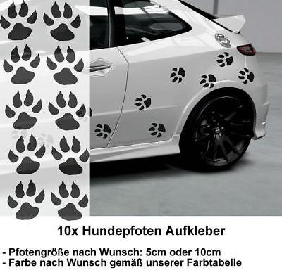 10x Hundepfoten Aufkleber H2 | Hundeaufkkleber | Hundetatzen Aufkleberset Pfoten