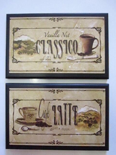 Java Mocha Latte Classico Bistro Kitchen Wall Decor Plaques 3 Coffee ...