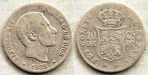 Inventif Spain-alfonso Xii. 10 Centavos De Peso. 1883/2. Manila Plata 2,5 G. Escasa Forfaits à La Mode Et Attrayants