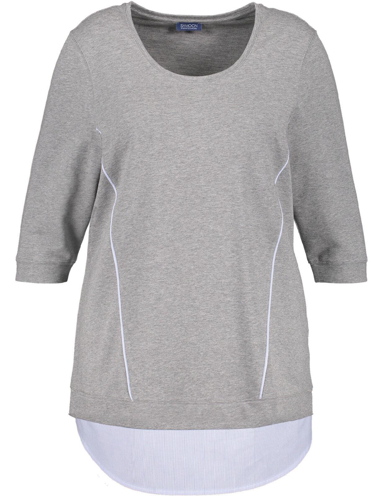Samoon Langes Sweatshirt mit Blausen-Saum by Gerry Weber Neu Shirt Damen Gr.