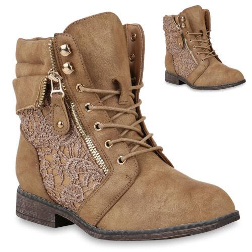 Damen Stiefeletten Zipper Schnürstiefeletten Blockabsatz Schuhe 818846 Trendy