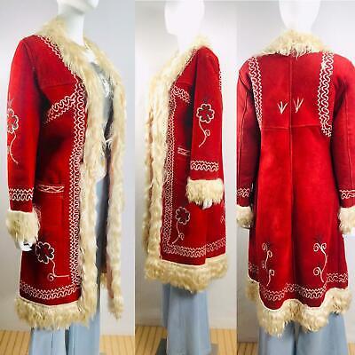 Details about Vintage 70s Afghan Coat Jacket Sheepskin Embroidered Penny Lane Almost Famous