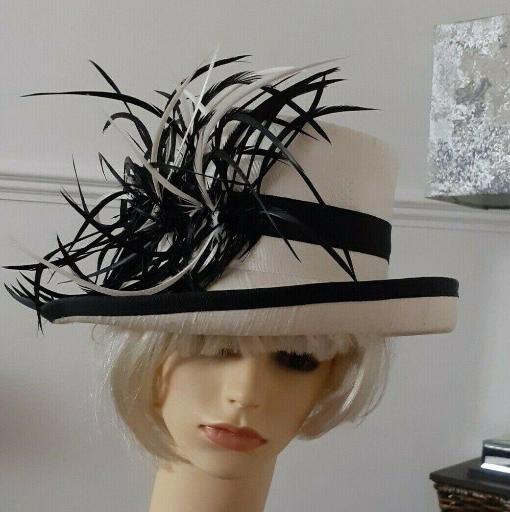 Pip Hackett silk Debenhams Ladies formal hat ~ ivory & black~ feathers ~ Wedding