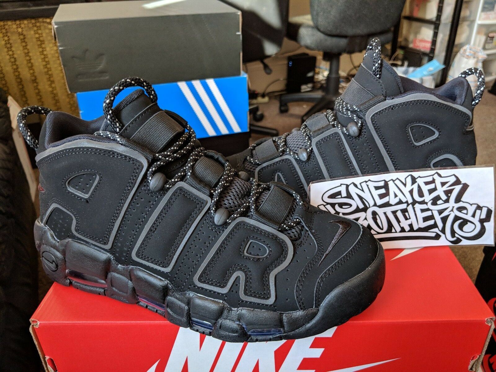 Nike Air More Uptempo Triple Black 3M Reflective OG Retro  414962-004 Comfortable and good-looking